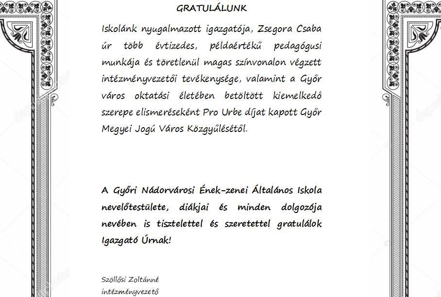 Zsegora Csaba Pro Urbe díj